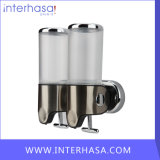 Transparent 500ml*2 Stainless Steel+ABS Plastic Wall-Mountained Liquid Soap Dispenser