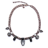 Fashion Coffee Golden Chain Link Necklace Crystal Jewelry