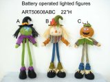 "22""H Lighting up Harvest Decoration Scarecrow Witch Pumpkin"