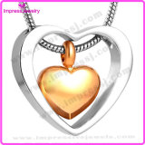 Ijd8078 Wholesale Cheap Double Heart Stainless Steel Cremation Pendant Necklace Ashes Keepsake Holder Memorial Locket