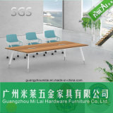 Straight Design Office Furniture Meeting Table with Circular Metal Leg