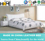 Modern Home Bedroom Furniture High Grade White Leather Bed (HC262)