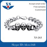 High-End Stainless Steel Jewelry Bracelet with Skull Bead