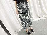 Fashion Style Palm Tree Varsity Chiffon Wide Leg Pants
