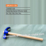 H-130 Construction Hardware Hand Tools Bowed Painted Claw Hammer with Wooden Handle