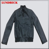 Fashion Men′s PU Jacket in Black Casual Coat