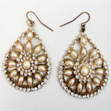 New Item Pearl Glass Stones Oval Shape Fish Hook Fashion Jewellery Earring