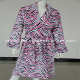 Zebra Printed Coral Fleece Bathrobe