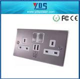 UK USB Wall Socket 220V Twin Gang Switched