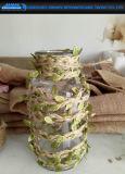 Decorative Houseware Glass Vase with Rope Decoration