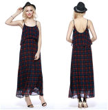 Classic Plaid Low Round Collar Backless Silp Dress Wholesale China