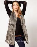 Plus Size 2015 New Winter Faux Fur Vest Gilet Fourrure Rabbit Fur Femme Vest Long V Collar Faux Fur Coat Vest Gray