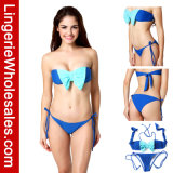 Ladies Two-Piece Bikini Contrast Color Bowknot Sexy Strapless Bandeau Swimwear