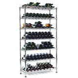 9 Bottle Adjustable Chrome Flat Metal Wine Rack (WR9035180A12C)