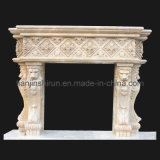 Stone Carving Fireplace with Lion Sculpture (FRP521)