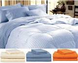 King Blue Striped Bed Sheet Set- 4 Pieces Set