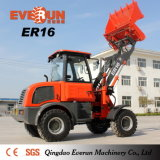Everun Brand Er16 Small Farm Tools High Quality Wheel Loader with Grass Forks