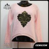 Women Winter Pink Curve Hem Sweater