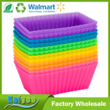 12 Cupcake and Muffin Molds Large Rectangular Silicone Baking Cups
