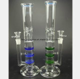 Blue and Green Glass Smoking Pipe for Cellular Filter Oil