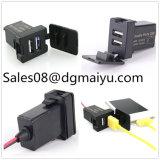 12V 2.1A Dual USB Port Power Socket Mobile GPS Car Charger for Toyota Vigo