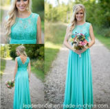 Blue Party Prom Dresses Sleeveless Boat Bridesmaid Evening Dress B703