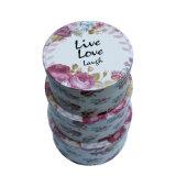 Flower Slogan Printing Paper Round Gift Box Set / Quality Round Packing Display Boxes