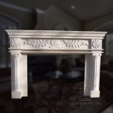White Natural Marble Fireplace with Good Carving