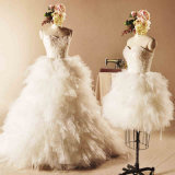 Strapless Beading Ruffled Ball Gown Wedding Dress