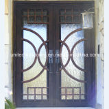 Modern Square Top Wrought Iron Exterior Door (UID-D019)