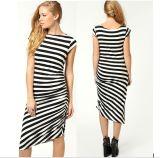 OEM 100% Cotton Sleeveless Women Sexy Stripe Dress
