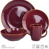 Cheap Price Glazing with Rim Ceramic 16PCS Dinner Set