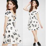 Clothes 2015 High Quality Fashion Flower Printed Ladies Dress