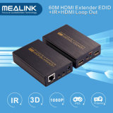 60m HDMI Extender Over Single Cat5e/6, HDMI Loop out (Bi-Directional IR+EDID+3D)