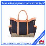 Genuine Leather and Canvas Fashion Handbag