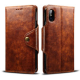 Retro PU Mobile Phone Wallet Case for iPhone X-Brown