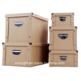 Multipurpose Strong Kraft Paper Cardboard Foldable Storage Box with Metal Button and Handle for Office / Home Packing