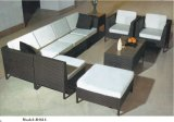 Brown Flat Wicker Patio Furniture Rattan Aluminum Base Outdoor Sofa Set