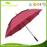 Custom Logo Printing Red Double Layers Popular Ladies Windproof Golf Umbrella