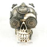 Halloween Gift Resin White Skull Figurine for Bar Decoration