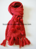 Fashion Knitted Wool Scarf with Pompoms