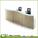 Wood Office Small Reception Desk with Glass Top