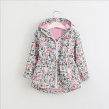 Fashion Hooded Coat with Printed Cute Floral for Children′s Clothing