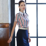 Fashion Design Ladies Formal Short Sleeve Drape Stripe Shirt