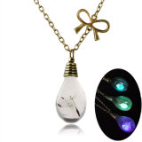 Glow in The Dark Necklace Glass Bottle Waterdrop Luminous Pendant Necklaces Seed Glowing Jewelry Gift