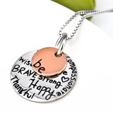 925 Sterling Silver Necklace Personalized Jewelry Inspiring Message Pendant Necklace Fashion Jewelry for Women