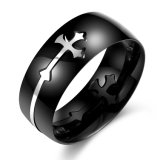 Hot Sale Fashion Cross Shape Black Gun Plated Stainless Steel Men Ring