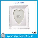 The White Porcelain Photo Frame Inside Heart Shape