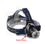 Head Swivel Zoom Focus CREE Xml T6 High Power LED Headlamp with Back Battery Case for 3AAA and 2X18650