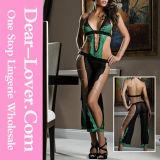 Undeniable Green Lace Sheer Black Mesh Bodysuit